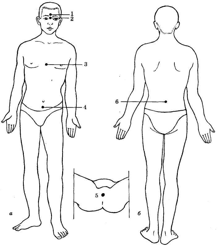 Расположение пяти дань-тянь с их ориентировочными точками