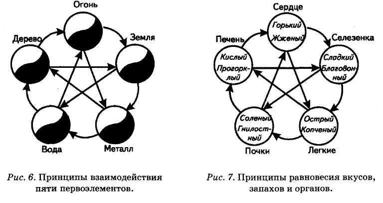 принципы взаимодействия пяти первоэлементов и принципы равновесия вкусов, запахов и органов